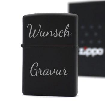 Zippo Schwarz Matt silberne Gravur