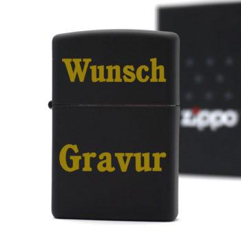 Zippo Schwarz Matt goldene Gravur